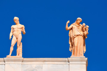 National Archaeological Museum in Athens , Greece . Sculptures o