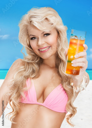 woman in bikini with cocktail