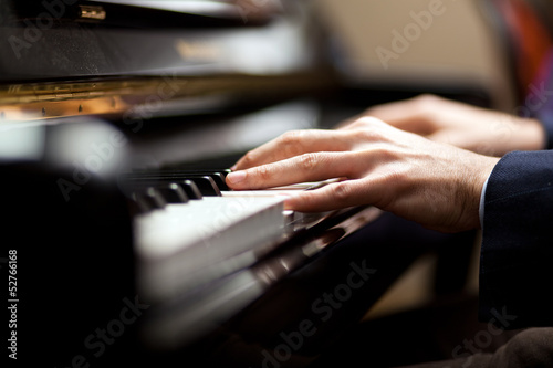 Pianist playing music