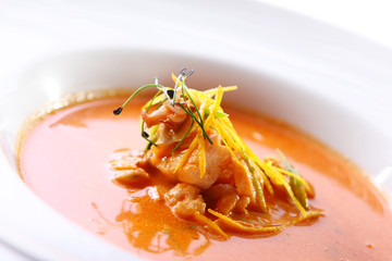 Fresh gourmet soup with meat