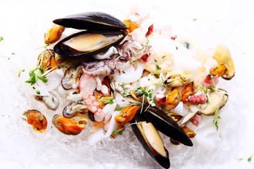 Fresh various seafood served on ice