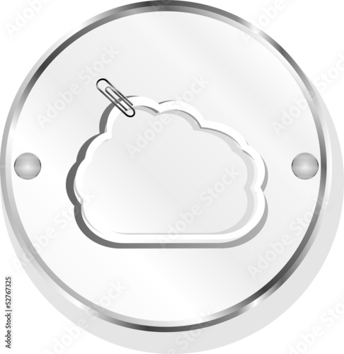 cloud symbol with clip on metal button icon