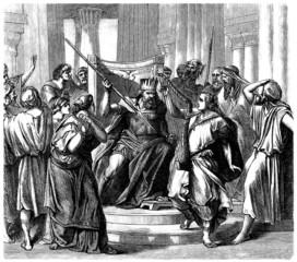 King Saül : attacking David - Biblical Scene
