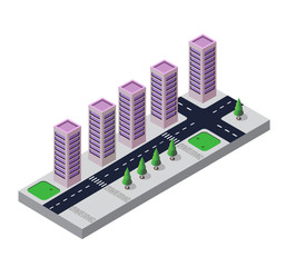 Isometric view of the urban area on the white background