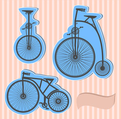 Vector set of old bikes on a color background