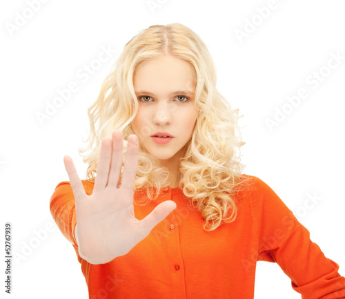 girl making stop gesture