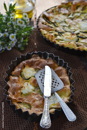 clafoutis with   zucchini and goat cheese