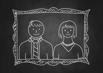 Parents portrait on blackboard