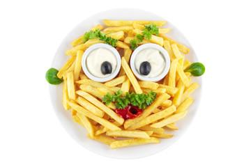 Lustiges Pommes Frites Gesicht