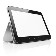 Black abstract tablet computer (tablet pc) with stand on white b