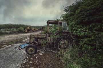 overgrown tractor