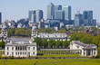 View of Docklands and Royal Naval College in London.