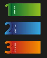 illustrazione vettoriale,  tre step numerati in diversi colori
