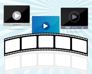 media player set with cinema film strips