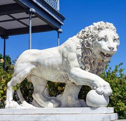 Marble lion sculpture in Vorontsov Palace in Alupka, Crimea