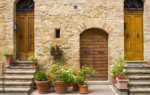 lovely tuscan street, Pienza, Italy