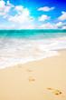 Fußspuren an tropischen Sandstrand