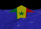 Senegal flag arrow in abstract ocean illustration