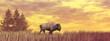 Bison walking ahead - 3D render