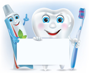 Funny tooth, tooth paste and tooth brush with blank