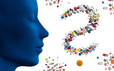 Blauer Kopf mit Tabletten