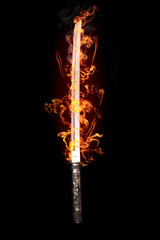 Japanese sword in flames