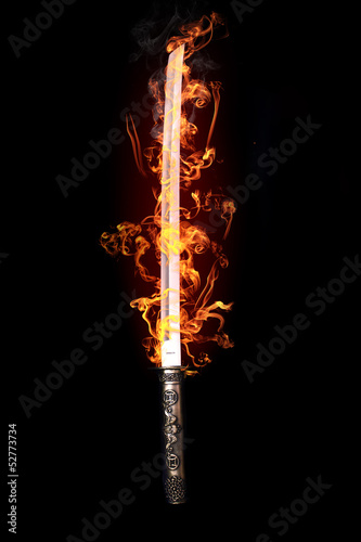 Leinwandbild Motiv Japanese sword in flames