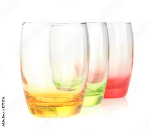Empty glasses isolated on white