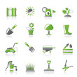 Gardening tools and objects icons - vector icon set