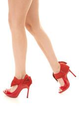 red high heel woman's legs