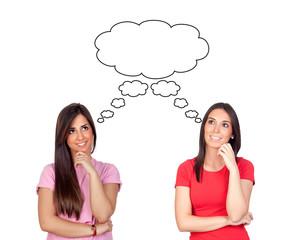 Two pensive brunette girls