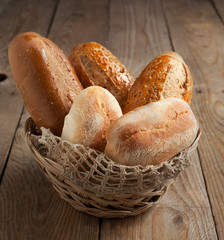 Bakery product assortment with bread loaves and buns
