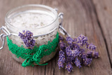 Fototapety Natural lavender and coconut body scrub