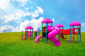 Colorful children s playground in garden