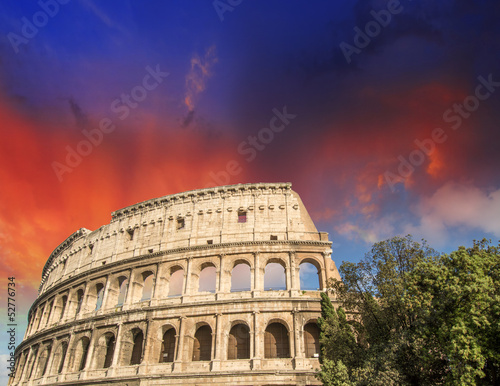 Rome, The Colosseum. Beautiful sunset colors in spring season