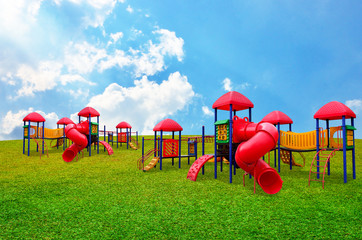 Children s playground in garden with nice sky