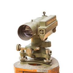 Construction equipment theodolite level tool isolated on white
