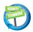 business teamwork road sign cycle
