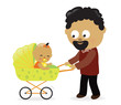 Man with baby carriage