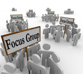 Many Focus Groups People Meeting Signs Niche Customers