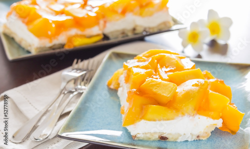 Hawaiian Mango Jello Cheesecake