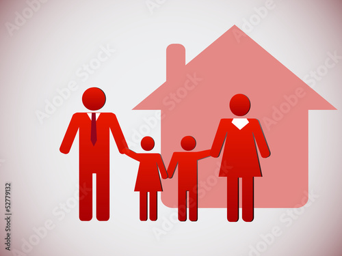 Happy family and a house