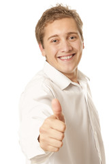 Portrait of a young man showing thumb up