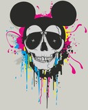 Grunge print for t-shirt with skull mouse
