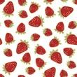 czerwone truskawki nieskończony owocowy deseń na białym tle