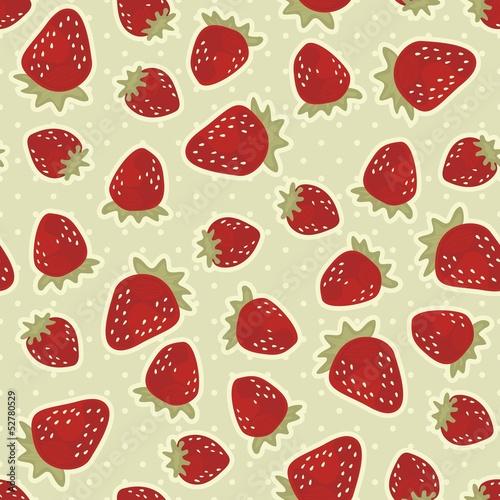 czerwone truskawki nieskończony deseń na retro tle w kropki