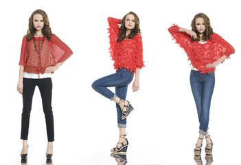 Full length three young fashion posing