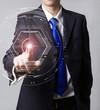 Businessman touch digital virtual screen