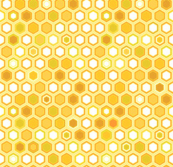 Abstract colorful yellow honeycomb seamless pattern, vector