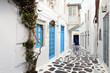 Leinwandbild Motiv Traditional streets of Mykonos island in Greece